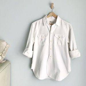 MADEWELL White Denim Button Down Long Sleeve Shirt